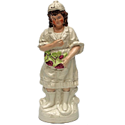 SALE Large 19th Century Staffordshire Pottery Figure Of A Woman Harvesting Grapes, Circa 1875