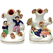 Pair Of 19th Century Small Staffordshire Spill Vases, Circa 1860