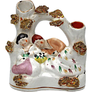 SALE 19th Century Staffordshire Pottery Figural Spill Vase, Circa 1850