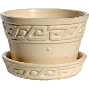 Vintage Signed McCoy White Greek Key Design Flower Pot, Circa 1950