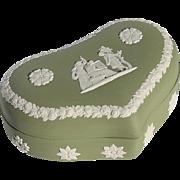 Vintage Wedgwood Green Jasperware Heart Shaped Box