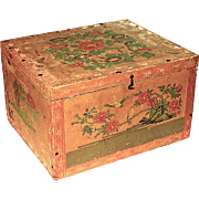 SALE Large Antique Japanese Papered Wood Tea Box With Tin Lining, Circa 1900