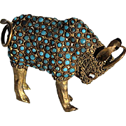 Early Vintage Filigree Brass Tibetan Bull Figure Inset With Torquoise
