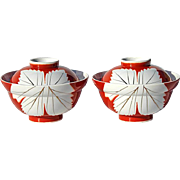 Vintage Pair Of Japanese Porcelain Covered Soup Bowls