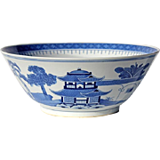 SALE Large Vintage Chinese Blue And White Canton Porcelain Bowl