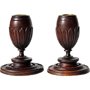 SALE Antique Pair Of Mahogany Wooden Candlesticks, Circa 1910