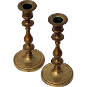 Pair Of Antique Solid Brass Candlesticks, Circa 1900