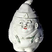 SALE Antique German Bisque Figural Tobacco Jar
