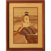 SALE Vintage Framed Signed Hudson River Inlaid Wood Picture Of Lighthouse Rock
