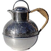 SALE Vintage English Silver Plated Tea Pot With Woven Wicker Handle