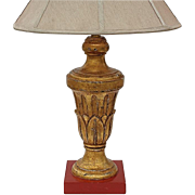 Early Vintage Italian Gilt Wood Urn Lamp, Circa 1930