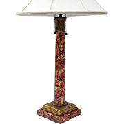19th Century French Red Marble Lamp With Gilt Metal Mounts