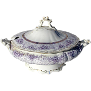 SALE 19th Century Wedgwood Mulberry Transferware Tureen In The Phyllis Pattern