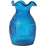 SOLD Early Vintage Mexican Hand-Blown Triple Mold Aqua Blue Glass Vase