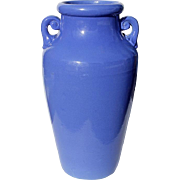 SALE Large Vintage Blue Handled Pottery Floor Vase, Circa 1950