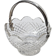 SALE 19th Century Dutch Cut Crystal Basket With Sterling Silver Handle