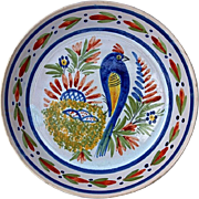 Early Vintage Henriot Quimper Faience Bird Plate
