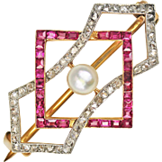 SALE Edwardian Diamond, Ruby and Natural Pearl Platinum and 18kt Gold Brooch