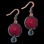 Red Enamel Copper Disc Earrings