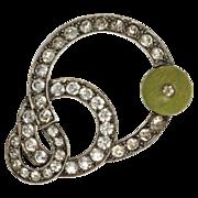 SALE Art Deco Green Bead Paste Brooch