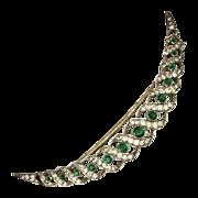 SALE Edwardian Emerald Green Paste Sterling Silver Crescent Brooch