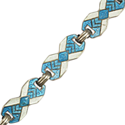 SALE Art Deco Sterling Silver Blue and White Guilloche Enamel Bracelet