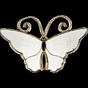 David Andersen White Enamel Butterfly Brooch