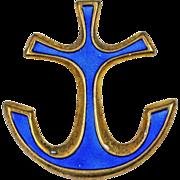 David Andersen Blue Enamel Anchor Sterling Silver Brooch