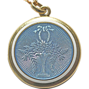 SALE **SALE** Edwardian Giardinetto Blue Guilloche Enamel 14kt Gold Locket and Chain