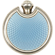 Art Deco Blue Guilloche Enamel Perfume Flask or Flacon