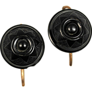 Victorian Whitby Jet Carved Rose Gold Earrings