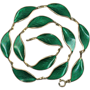David Andersen Green Enamel Leaf Sterling Silver Necklace
