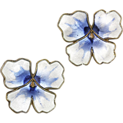 David Andersen Blue and White Enamel Pansy Sterling Silver Earrings