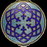 Art Deco Blue Guilloche Enamel Compact