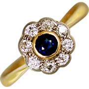 Edwardian Sapphire and Diamond 22kt Gold Daisy Ring
