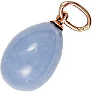 SOLD Antique Edwardian Tsarist Blue Chalcedony 14kt Gold Easter Egg Pendant or Charm – Hallm
