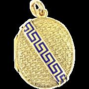 Victorian Etruscan Revival 14kt Gold and Enamel Greek Key Locket