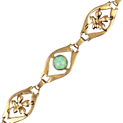 Vintage 1950s Opal and 10kt Gold Bracelet