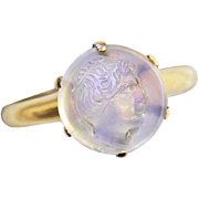 Antique Edwardian Carved Cameo Moonstone 14kt Gold Ring