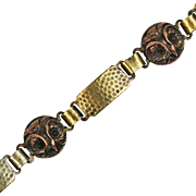 Antique Arts and Crafts Bronze and Copper Owl Bracelet from Hooten Pagnell Hall