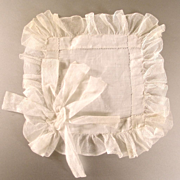 Wee Net Lace & Lawn Ruffled Hanky For Doll Or Bridal