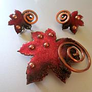 Matisse Enamel On Copper Maple Leaf Earring Set