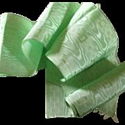 SOLD Vintage Mint Green Water Silk Taffeta Jacquard Wide Ribbon