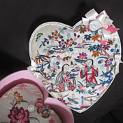 Nesting Heart Boxes Covered In Antique Chinese Figural Silk Valentine's Day