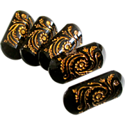 Gorgeous Black Glass & Gilt Victorian Floral Buttons