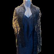 19C Greek Key Design Long Lace Scarf Shawl