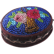 Victorian Native Beaded Velvet Pin Box Rose Basket Mirror
