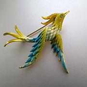 60's Fantasy Bird Brooch Enameled Mamselle