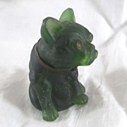 SOLD Early 1900's Frosted Green Glass Pug Dog Miniature Dollhouse