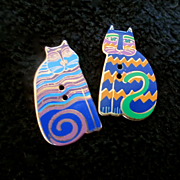 REDUCED Laura Burch Enameled Buttons Cats Repurpose For Earrings